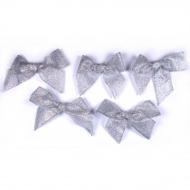 Lurex Ribbon Bows Large 5.5cm wide Silver Pack of 5