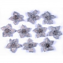 Lurex Ribbon Bows Poinsettia with Beads 3cm wide Silver Pack of 10