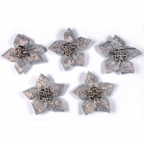 Lurex Ribbon Bows Poinsettia with Beads 3cm wide Silver Pack of 5