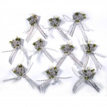 Lurex Ribbon Bows Posy with Beads 5.5cm wide Silver Pack of 10