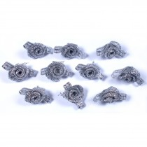 Lurex Ribbon Bows Small Rosebud 2cm wide Silver Pack of 10