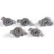 Lurex Ribbon Bows Small Rosebud 2cm wide Silver Pack of 5