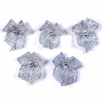 Lurex Ribbon Bows with Bead 2cm wide Silver Pack of 5