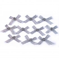 Lurex Ribbon Bows with Bead Circle 3cm wide Silver Pack of 10