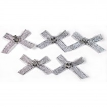 Lurex Ribbon Bows with Bead Circle 3cm wide Silver Pack of 5