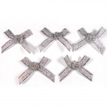 Lurex Ribbon Bows with Flower 3.5cm wide Silver Pack of 5