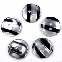 Marble Stripe Humbug Candy Look Buttons 15mm Black Pack of 5