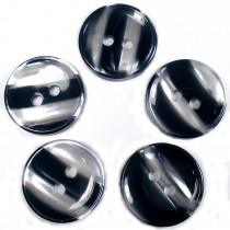Marble Stripe Humbug Candy Look Buttons 15mm Blue Black Pack of 5