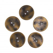 Metal Round Circle Buttons 28mm Brass Pack of 5