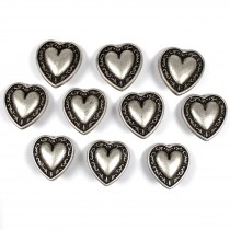 Metal Heart Buttons Vine Border Antique Silver Colour 12mm Pack of 10