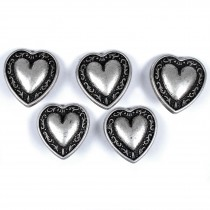 Metal Heart Buttons Vine Border Antique Silver Colour 12mm Pack of 5
