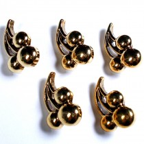 Metal Look Plastic Cherry Buttons 18mm x 11mm Gold Pack of 5
