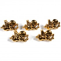 Metal Look Plastic Cherub Buttons 17mm x 12mm Gold Pack of 5