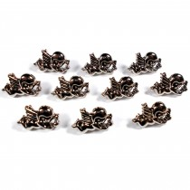 Metal Look Plastic Cherub Buttons 17mm x 12mm Silver Pack of 10