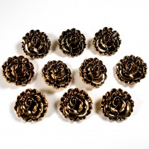 Metal Look Plastic Lotus Flower Buttons 18mm x 18mm Gold Pack of 10