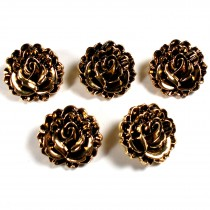 Metal Look Plastic Lotus Flower Buttons 18mm x 18mm Gold Pack of 5