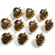 Metal Look Plastic Strawberry Buttons 13mm x 13mm Gold Pack of 10