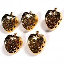 Metal Look Plastic Strawberry Buttons 13mm x 13mm Gold Pack of 5