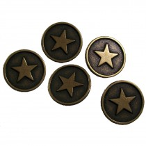 Metal Star Round Circle Buttons 23mm Pack of 5