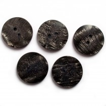 Metallic Shimmer Buttons 2 Hole Round 22mm Black Pack of 5