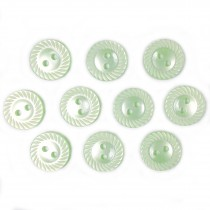Milled Edge Round Plastic Buttons 16mm Green Pack of 10