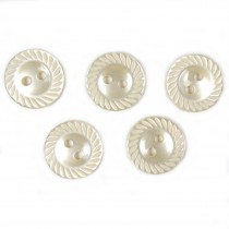 Milled Edge Round Plastic Buttons 11mm Ivory Pack of 5