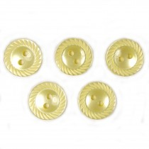 Milled Edge Round Plastic Buttons 11mm Yellow Pack of 5
