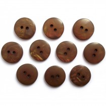 Mother of Pearl Effect Colour Buttons Round 2 Hole 15mm Dark Brown Pack of 10