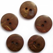 Mother of Pearl Effect Colour Buttons Round 2 Hole 15mm Dark Brown Pack of 5