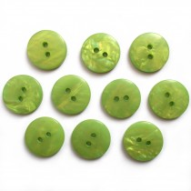Mother of Pearl Effect Colour Buttons Round 2 Hole 20mm Green Pack of 10