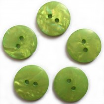 Mother of Pearl Effect Colour Buttons Round 2 Hole 15mm Green Pack of 5
