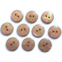 Mother of Pearl Effect Colour Buttons Round 2 Hole 15mm Light Brown Pack of 10
