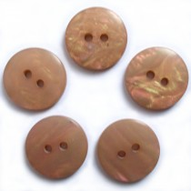 Mother of Pearl Effect Colour Buttons Round 2 Hole 15mm Light Brown Pack of 5