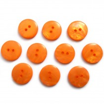 Mother of Pearl Effect Colour Buttons Round 2 Hole 15mm Orange Pack of 10