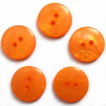 Mother of Pearl Effect Colour Buttons Round 2 Hole 15mm Orange Pack of 5