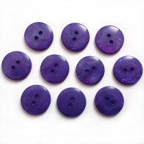 Mother of Pearl Effect Colour Buttons Round 2 Hole 15mm Purple Pack of 10