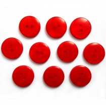 Mother of Pearl Effect Colour Buttons Round 2 Hole 15mm Red Pack of 10