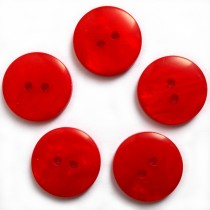 Mother of Pearl Effect Colour Buttons Round 2 Hole 15mm Red Pack of 5