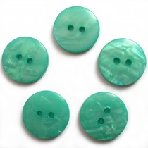 Mother of Pearl Effect Colour Buttons Round 2 Hole 13mm Turquoise Pack of 5