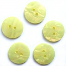 Mother of Pearl Effect Colour Buttons Round 2 Hole 20mm Yellow Pack of 5
