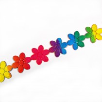 Multi Colour Trim Multi Colour Large Flower 20mm 1m length