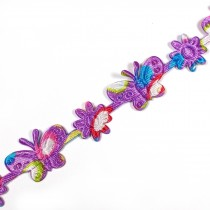 Multi Colour Trim Purple Butterfly 15mm 1m length