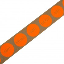 Happy Birthday Berisfords Neon Dot Ribbon 25mm wide Brown with Orange 1 metre length