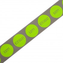 Happy Birthday Berisfords Neon Dot Ribbon 25mm wide Brown with Yellow 1 metre length