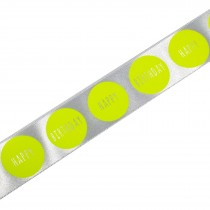 Happy Birthday Berisfords Neon Dot Ribbon 25mm wide White with Yellow 2 metre length