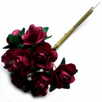 Bunch of 12 Paper Tea Roses 20mm Flower Burgundy