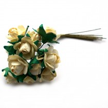 Bunch of 12 Paper Tea Roses 20mm Flower Cream