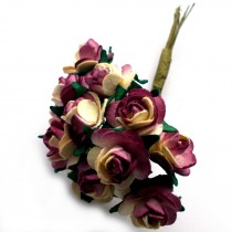Bunch of 12 Paper Tea Roses 20mm Flower Cream Burgundy