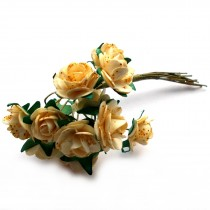 Bunch of 12 Paper Tea Roses 20mm Flower Gold Ivory