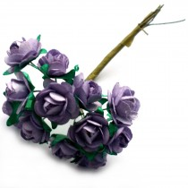 Bunch of 12 Paper Tea Roses 20mm Flower Lavender